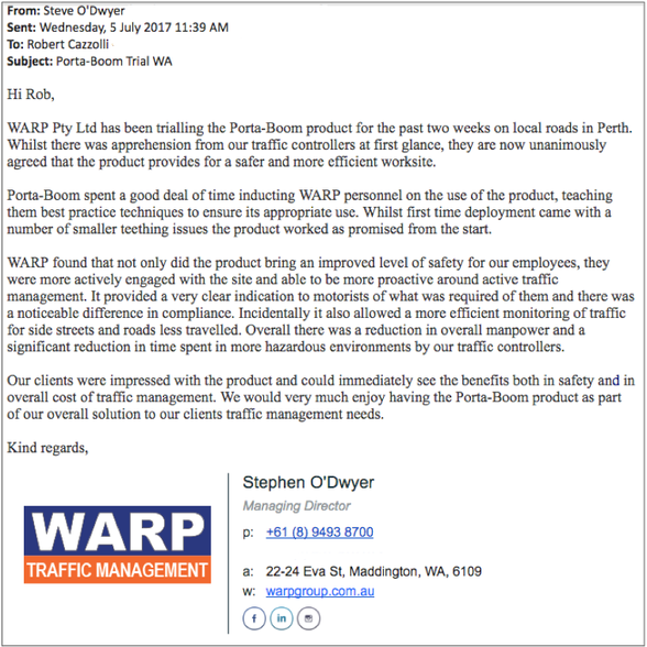 PORTABOOM Testimonial WARP Traffic Management