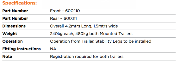 PORTABOOM Mounted Trailer Specs