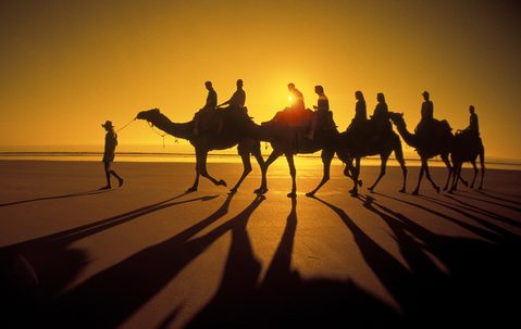 Sunset camel ride along Cable Beach