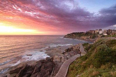 Sunrise in Eastern suburbs of Sydney along the Bondi to Coogee walk