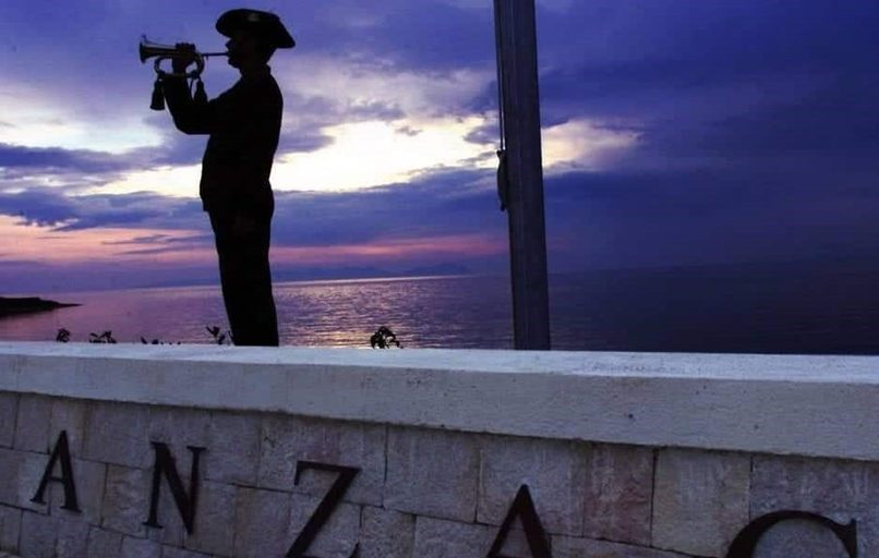 Dawn service at Anzac Cove, Gallipoli. Photo courtesy of Mat McLachlan Battlefield Tours.