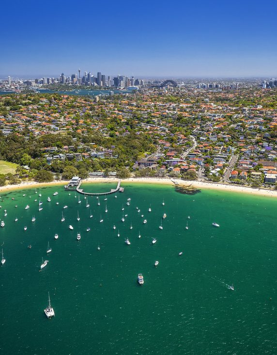 Aerial view of Sydney Harbour overlooking Hunters Bay, Mosman towards the Sydney CBD.