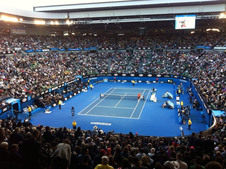 Full house watching the Australian Open Tennis, at Melbourne Park.