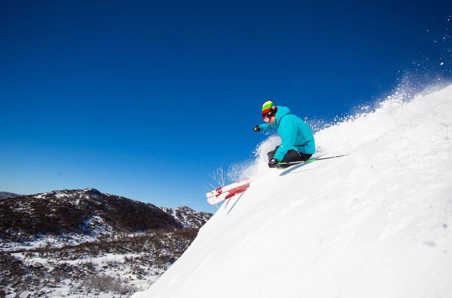 Skier in Smiggin Hole, Perisher. Image credit: Perishe