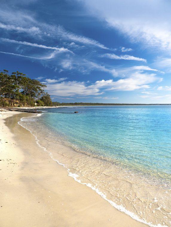 White sandy beach in Huskisson, Jervis Bay.