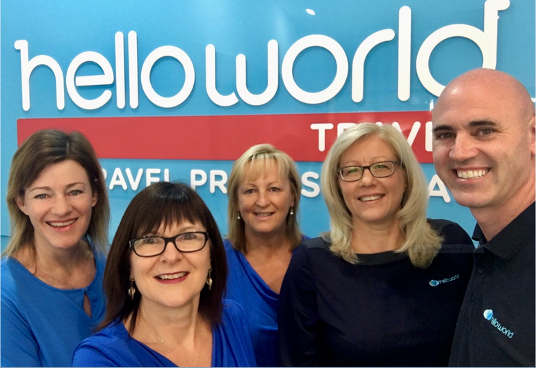 Nicole and the team from Helloworld Travel Ocean Grove. Credit: Nicole Bryan.