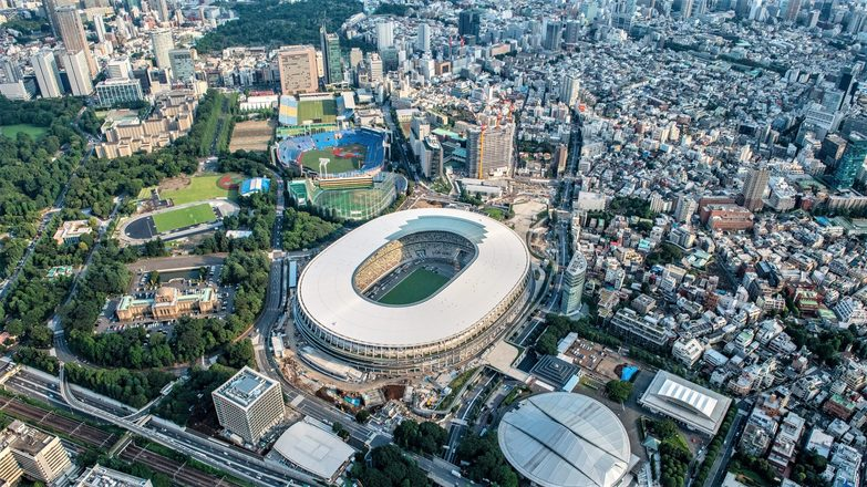 Tokyo's new National Stadium awaits the 2020 Olympics. Credit: Getty Images