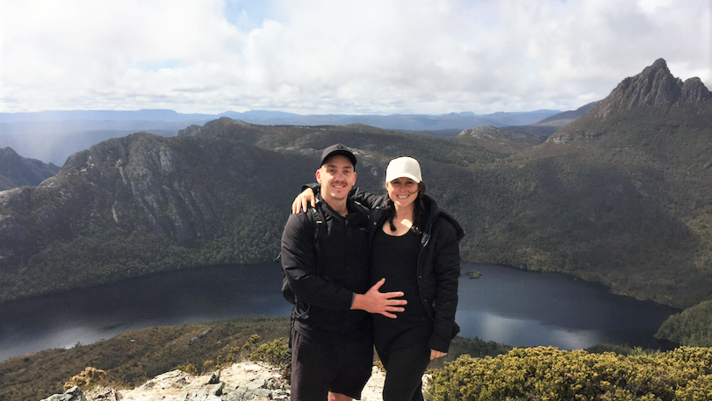 All smiles after a successful proposal on Cradle Mountain. Credit: Charlotte Wadsworth.