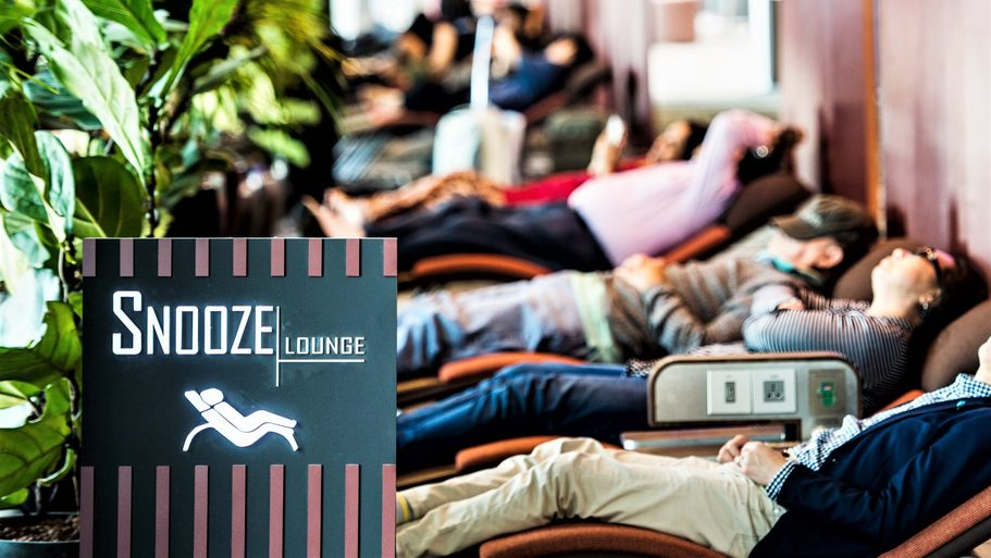 Sometimes it's just all too much. Find a snooze zone and nod off. Credit: Singapore Changi Airport.