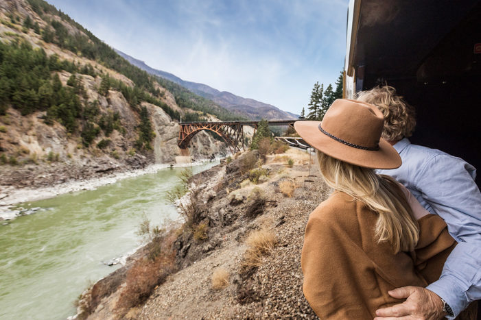 (Image: Rocky Mountaineer's GoldLeaf outdoor viewing platform. Credit: Rocky Mountaineer)