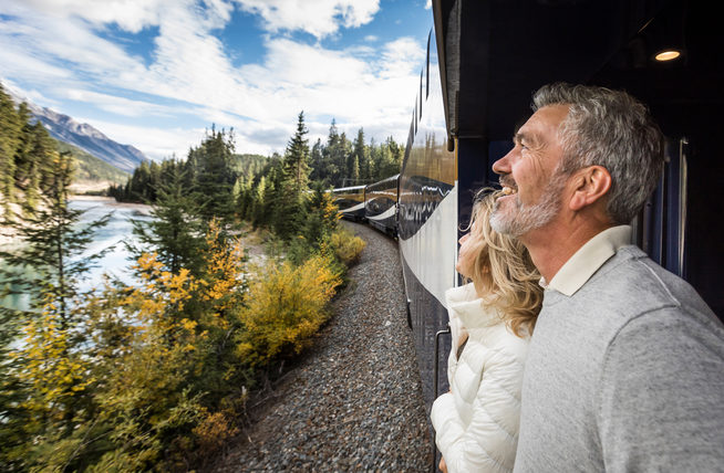 Image: Views from Rocky Mountaineer's GoldLeaf outdoor viewing platform. Credit: Rocky Mountaineer)