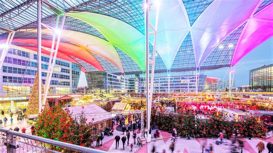 Munich Airport's Christmas market and ice skating rink. Credit: Munich Airport.
