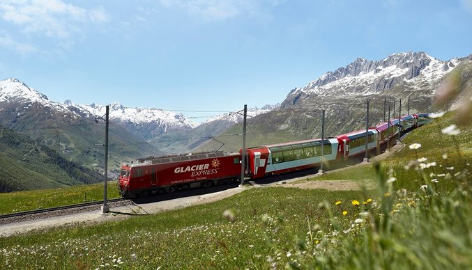 (Image: Switzerland's legendary Glacier Express. Credit: Glacier Express)