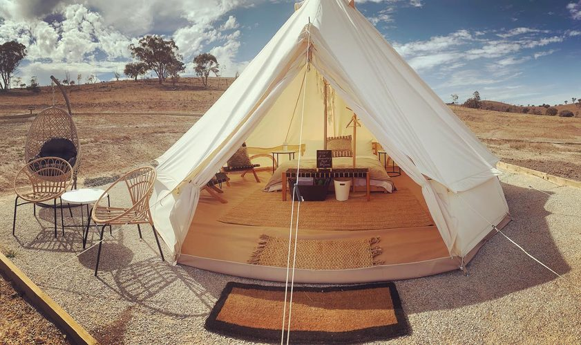Image: Glamping closer to home at Glenayr Farm, Mudgee. Credit: Glenayr Farm.