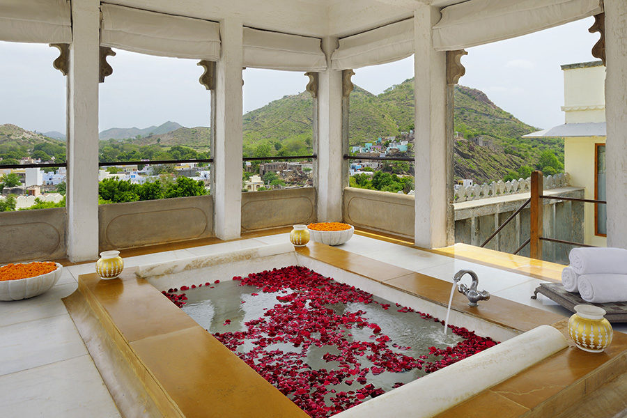 The Devigarh Suite private sun deck and Jacuzzi. Image credit: RAAS Devigarh hote