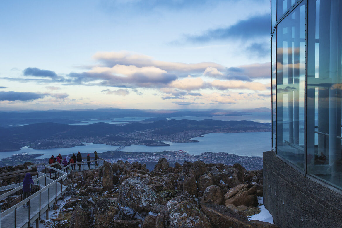 Hobart city from Mount Wellington Lookout_Tourism Australia & Graham Freeman
