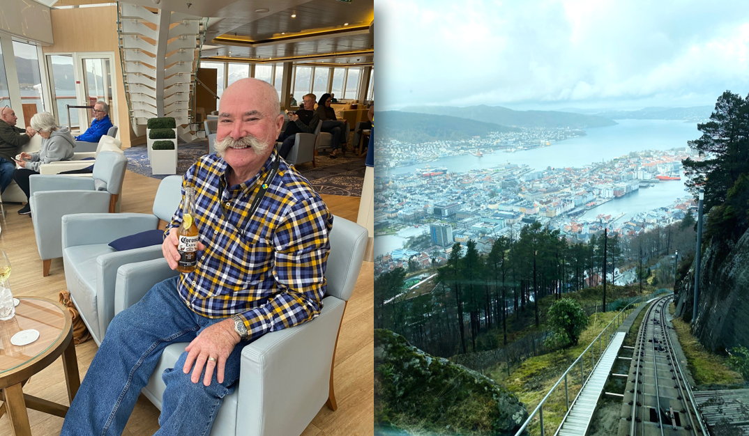 JD enjoying a pre-cruise refreshment; Exploring Bergen, Norway. Credit: JD and Annabelle.