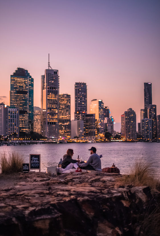 Sunset picnic on Brisbane River