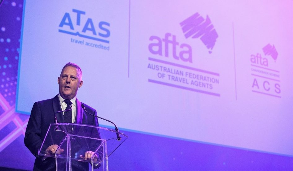 AFTA Chief Executive, Jayson Westbury, presents the ATAS program at the National Travel Industry Awards.