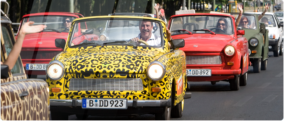 Trabi's out and about in Berlin. Image credit: Trabi Safari