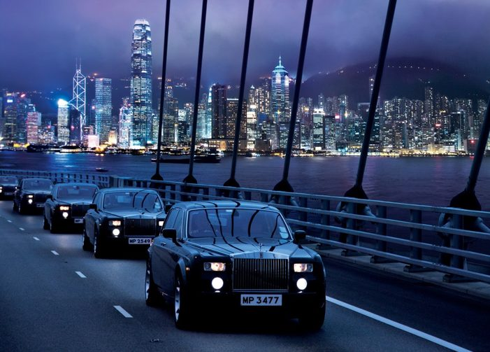 (The Peninsula Hong Kong's legendary fleet of Roll Royce Phantoms. Image credit: The Peninsula Hotels)
