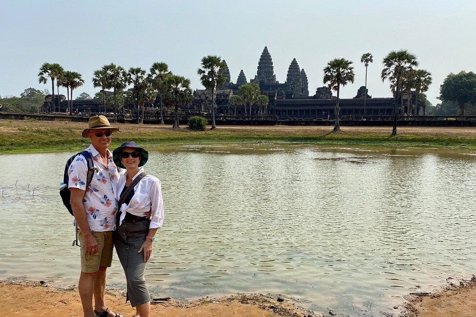 Steve and Stevie in Cambodia before COVID-19 restrictions impacted their honeymoon.