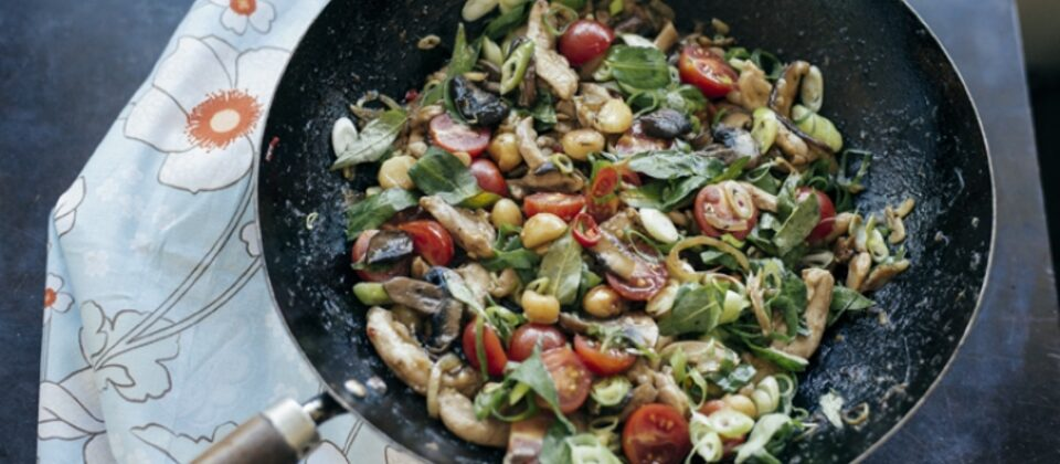 Chicken, mushroom and macadamia stir-fry