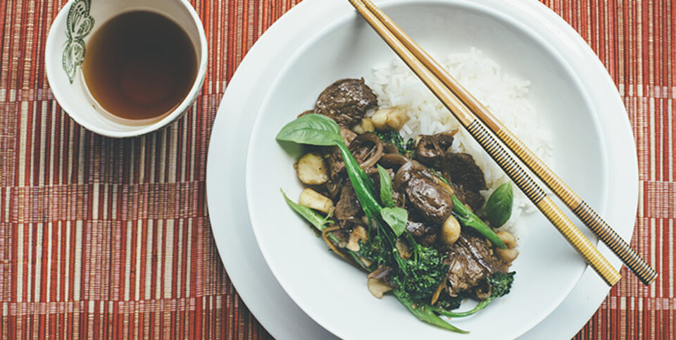 Lemongrass, beef, broccolini and macadamia stir fry