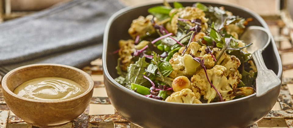 Roasted cauliflower and macadamia salad