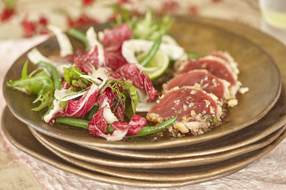 Macadamia crusted tuna with summer salad and macadamia dressing