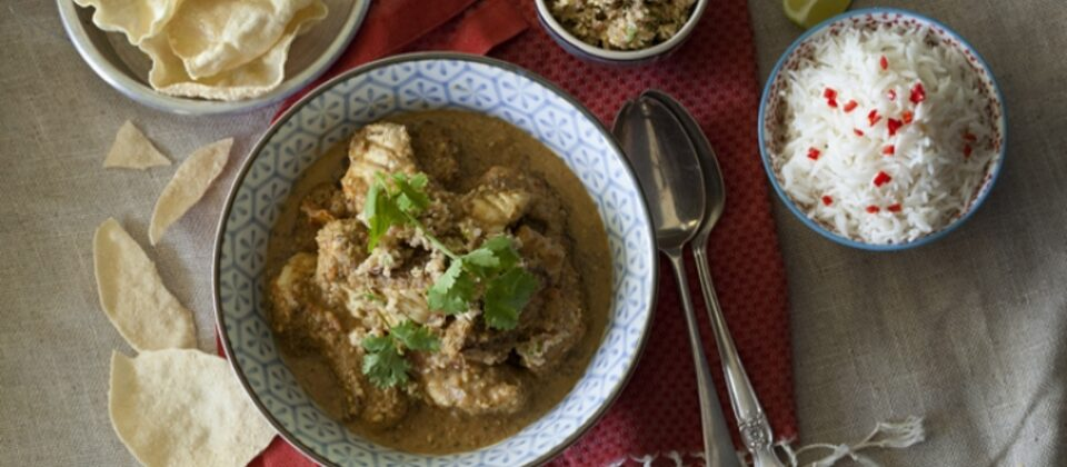 Fish curry with coconut and macadamia sambal