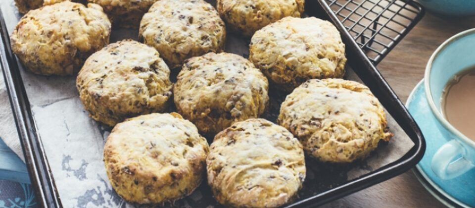 Macadamia, bush tomato and pumpkin scones