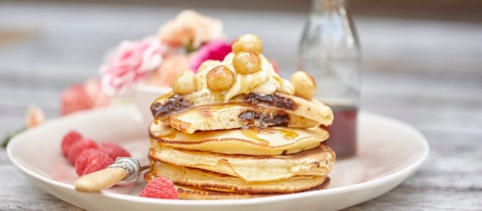 Chocolate Macadamia Butter Pancakes