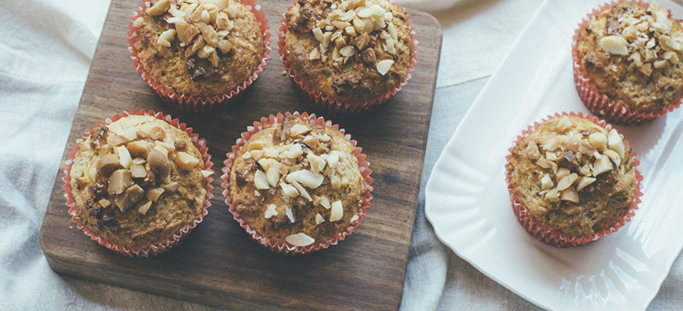 Great for snacking - banana muffin with macadamias