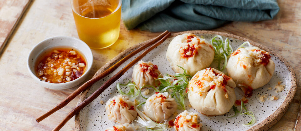 Macadamia and pork wontons and steamed buns