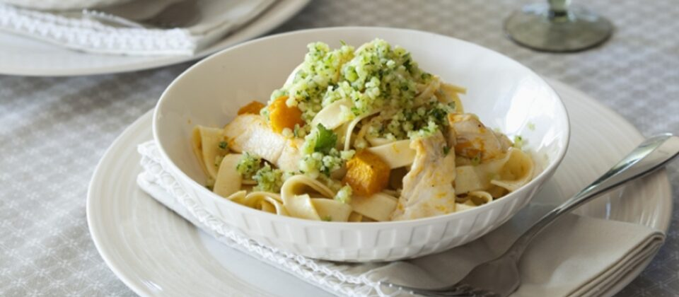 Fettucine with pumpkin, chicken and macadamia parmesan gremolata