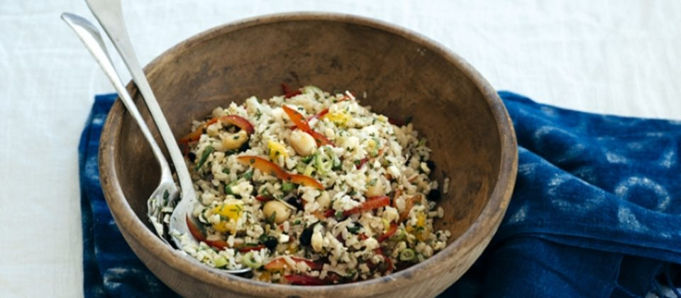 Macadamia brown rice salad