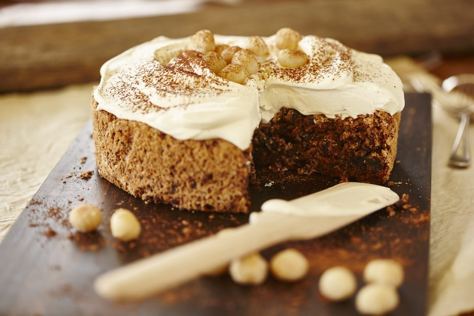 Macadamia, Date and Chocolate Torte