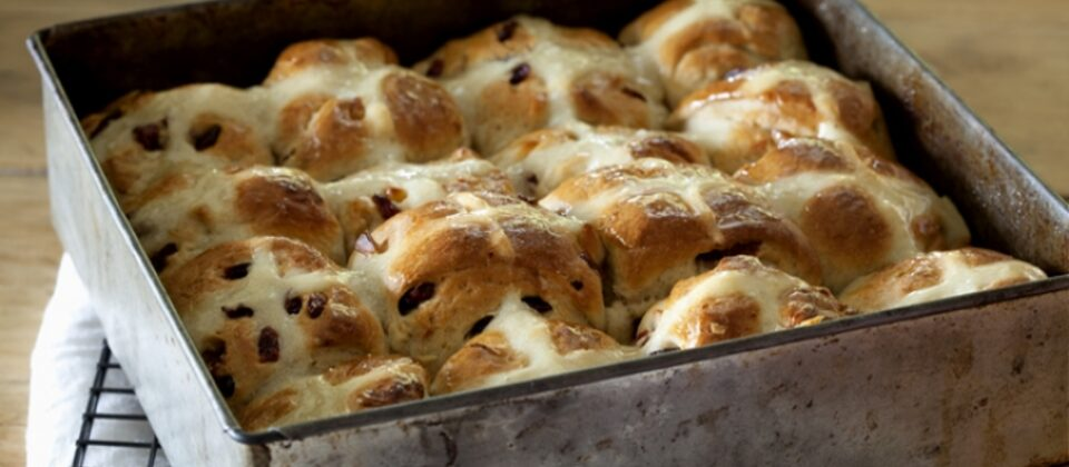 Hot cross buns with macadamias and cranberries