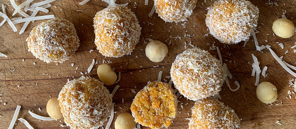 Macadamia and peach bliss balls