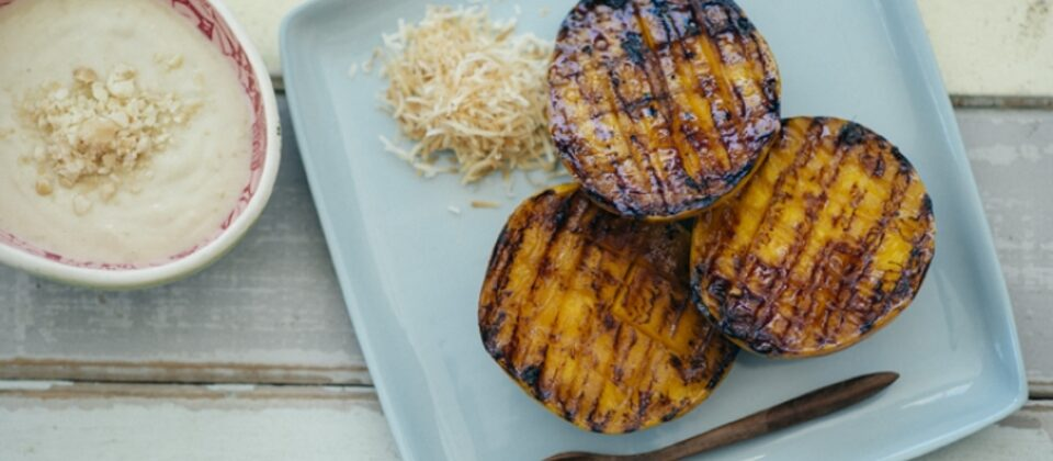 Chargrilled mango cheeks with macadamia, coconut & ginger sauce