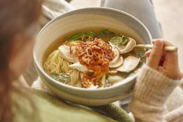 Chicken Noodle Soup with Macadamia Chilli Jam