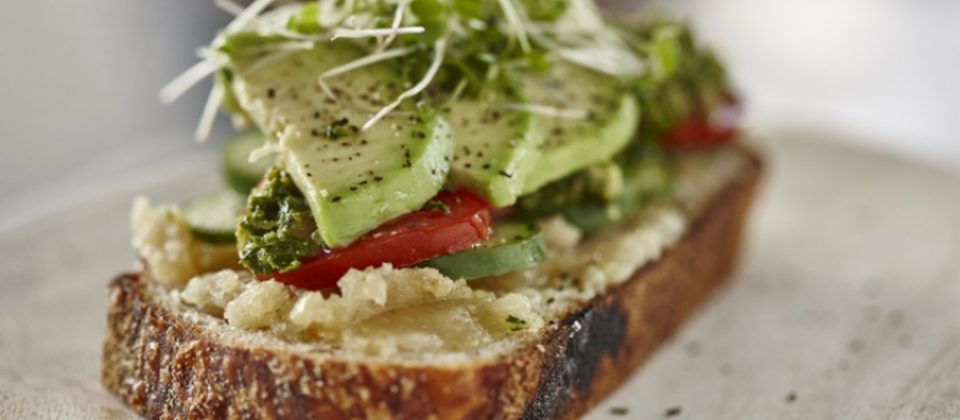 The perfect sandwich with roasted garlic macadamia butter and macadamia salsa verde