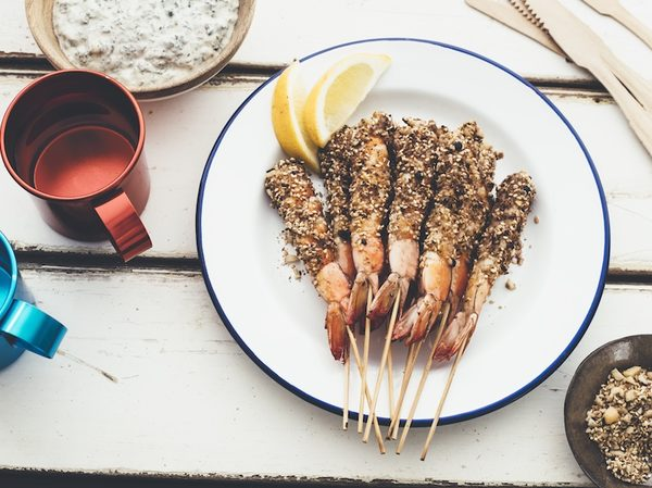 Bbq prawns with macadamia dukkah