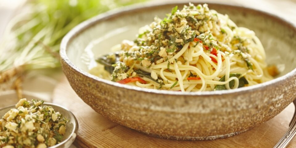Spaghettini with macadamia and parmesan crumb