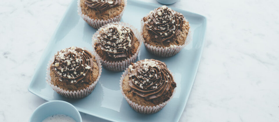 Chocolate macadamia coconut cupcakes with choc mac frosting