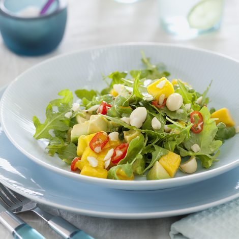 Mango, avocado and macadamias salad