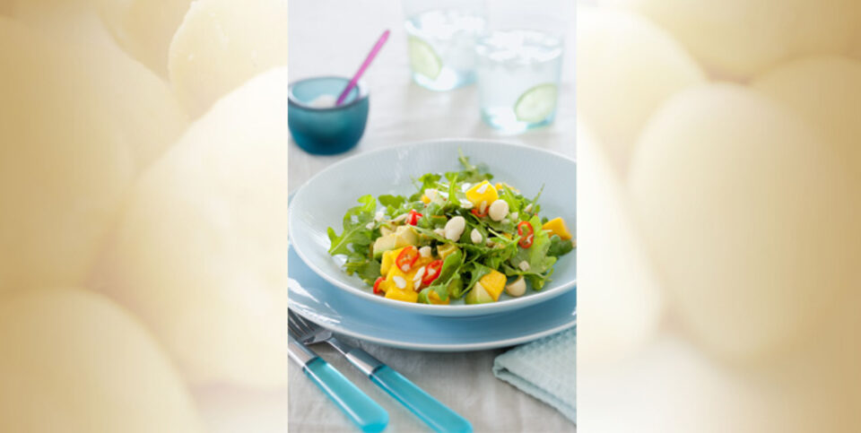 Mango, avocado and macadamia salad