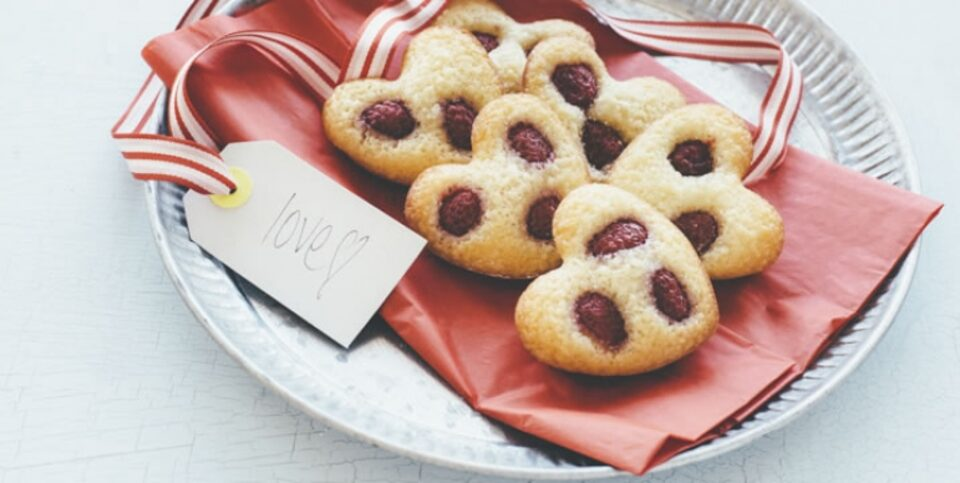 Macadamia and raspberry heart friands