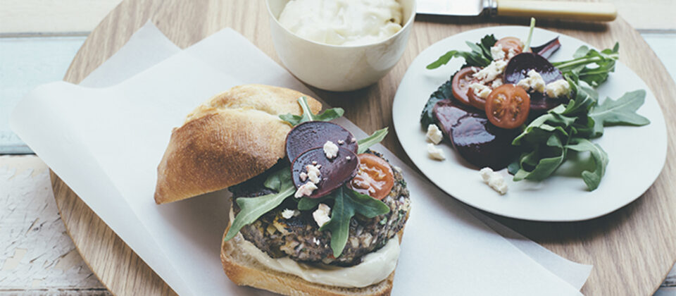 Chargrilled lamb and macadamia burger with macadamia aioli
